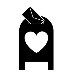silhouette love mail post box message valentine vector image