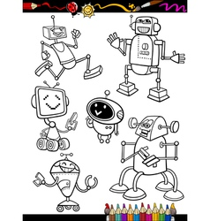 Robots cartoon set for coloring book vector