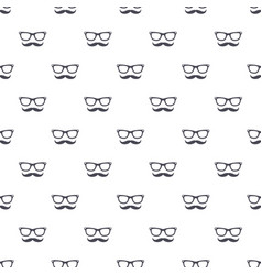 seamless pattern with hipster mustache and glasses vector image
