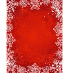 red christmas background with frame of snowflakes vector image
