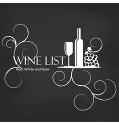 Wine list on blackboard background vector