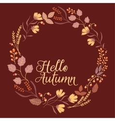 Autumn floral frame collection cute set with vector
