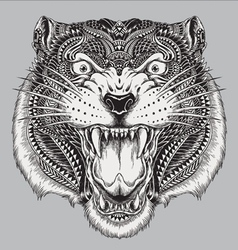 Detailed hand drawn abstract tiger vector