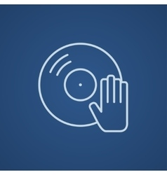 Disc with dj hand line icon vector