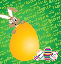 Easter bunny with big egg on a green background vector