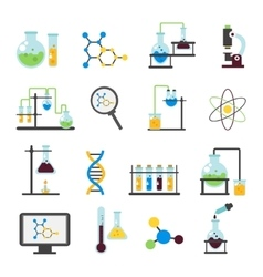 Chemistry lab flat icon set vector