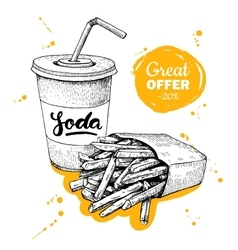 Vintage fast food special offer hand drawn vector
