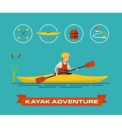 a cartoon kayaker vector image