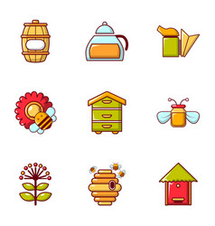 Beekeeping tools icons set flat style vector