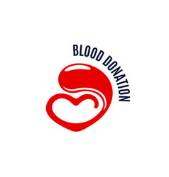 Blood donation icon of heart and drop vector