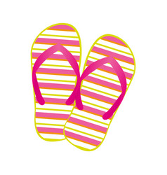 Colorful silhouette of beach flip-flops vector