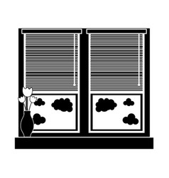 Contour window with blind curtain and fower inside vector