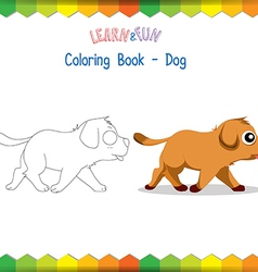 Dog coloring book educational game vector image