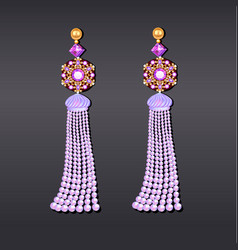 earrings from beads of pearl lilac gems and gold vector image