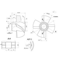 Engineering sketch of wheel with elements vector