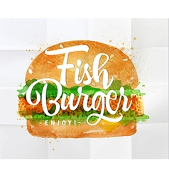 Fish burger watercolor vector image vector image