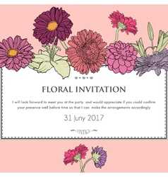 Floral horizontal invitation card vector image vector image