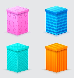 four cones gift boxes with lids closed vector image
