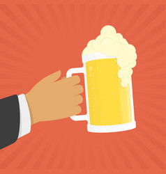 Hand hold beer vector