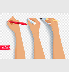 hands drawing with brush pencil and chalk vector image vector image