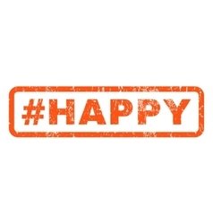Hashtag Happy Rubber Stamp vector image vector image