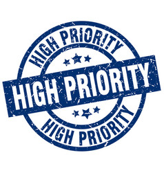 High priority blue round grunge stamp vector