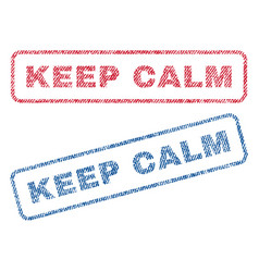Keep calm textile stamps vector
