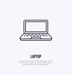laptop notebook with blank screen flat line style vector image vector image