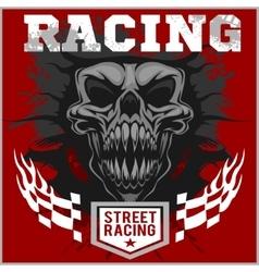 Motor racing demon - emblem for t-shirt vector image vector image