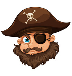 Pirate wearing hat and eyepatch vector