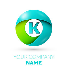 Realistic letter k logo in colorful circle vector