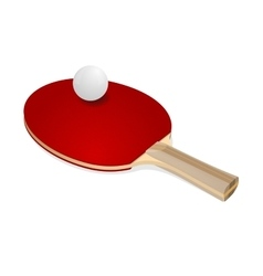 Red ping-pong rackets and white ball vector image