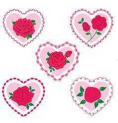 rose valentine frame hearts vector image vector image