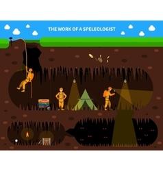 Speleologists cave exploration flat background vector