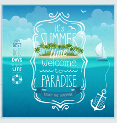 Summer time poster with tropical background vector image