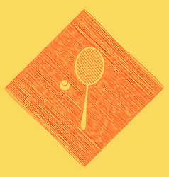 Tennis racquet with ball sign red vector