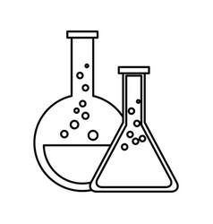 test tube flask glass laboratory equipment school vector image