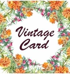Wedding or birthday card floral frame watercolor vector