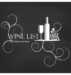 Wine list on blackboard background vector