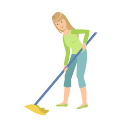 Woman washing floor with the mop cartoon adult vector