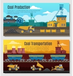 Coal Production Banners Set vector image
