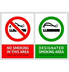 No smoking and Smoking area labels vector image