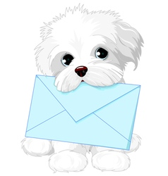 Cute dog delivering mail envelope vector