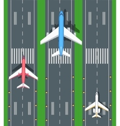 Set of Aviation Airplanes on Runways vector image