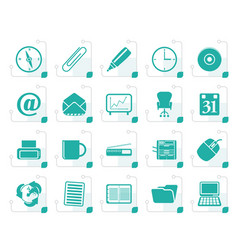 stylized office tools icons vector image
