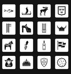 sweden travel icons set squares vector image