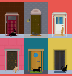 Flat colorful building exterior set vector