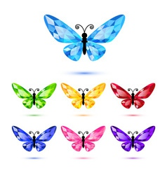 Set of diamond butterflies vector