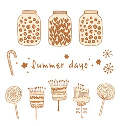 Set of summer elements vector
