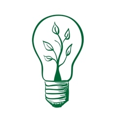 Doodle light bulb with sprout inside vector